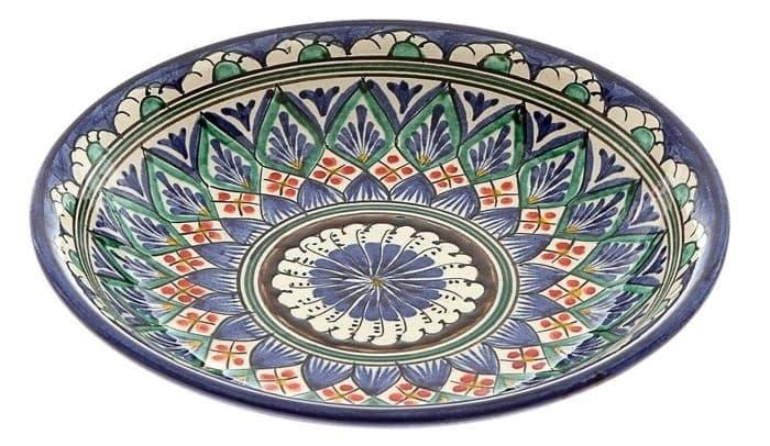 Тарелка глубокая Риштанская Керамика 19 см. синяя - фото 7527