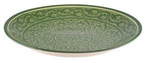 Ляган Риштанская Керамика 38 см. плоский, зеленый