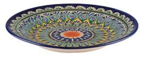 Тарелка плоская Риштанская Керамика 22 см. синяя